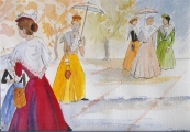 <p>Arlésiennes aux ombrelles. 30x20cm </p>