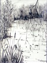 <p>Sologne. étang en hiver. 50x65cm </p>