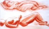 <p>nus étendus. (sanguine) 65x45cm </p>