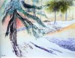 <p>Neige. soleil d'hiver. 40x30cm </p>