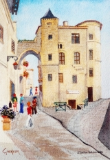 <p>St Emilion. porte de la Cadène 20x30cm </p>