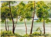 <p>Voiles sur l'étang. 51x36cm </p>
