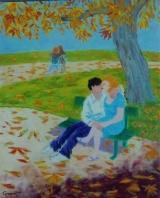 <p>les amoureux 50x61 cm </p>