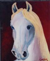 <p>cheval akhal téké. 22x27cm </p>