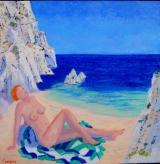 <p>Méditerranée. bain soleil. 60x60cm </p>
