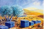 <p>les ruches bleues 55x38cm </p>