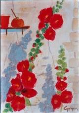 <p>roses trémières 27x35cm </p>