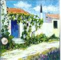 <p>Ré. la porte bleue  40x40cm </p>
