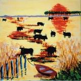 <p>taureaux de Camargue à la barque. 30x30cm </p>