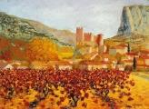 <p>St Jean de Buèges. vignes rouges 73x54cm </p>