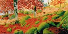<p>Forêt en automne. 60x30cms </p>