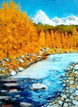 <p>Mercantour. mélèzes à l'automne. 60x50cms </p>