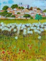 <p>Village aux chardons. 61x50cms </p>