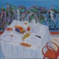 <p>Petit déjeuner sur la terrasse. 40x40cms disponible </p>