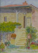 """<p>Beaujolais. maison dans les """"pierres dorées"""". 20x30cms </p>"""