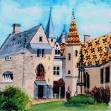 <p>Bourgogne. Château de la Rochepot. intérieur. 20x20cms </p>