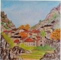 <p>Cévennes . village. 20x20cms </p>