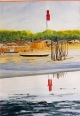 <p>Cap Ferret. le phare 35x50cms.   vendu </p>