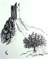 <p>Quéribus ruines 50x65cm.  disponible </p>