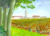 <p>St Emilion. vue du Clos Fourtet. 30x20cms.  vendu </p>