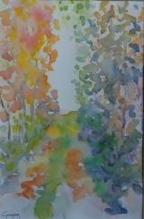<p>Sous bois. automne. 20x30cms </p>