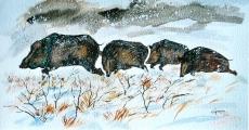 <p>Sangliers en hiver. 50x27cms</p>