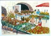<p>marché aux fleurs 91x13cms </p>